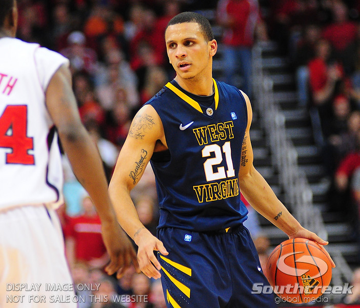 West Virginia Mountaineers guard Joe Mazzulla (21) during the game.  Louisville Cardinals defeated West Virginia Mountaineers 55-54  at the KFC Yum Center in Louisville, Kentucky.