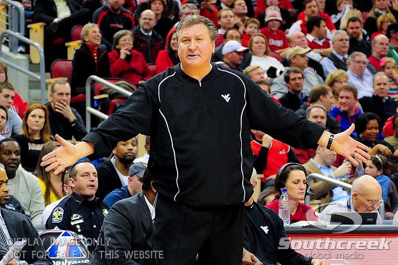 West Virginia Mountaineers head coach Bob Huggins during the game.  Louisville Cardinals defeated West Virginia Mountaineers 55-54  at the KFC Yum Center in Louisville, Kentucky.