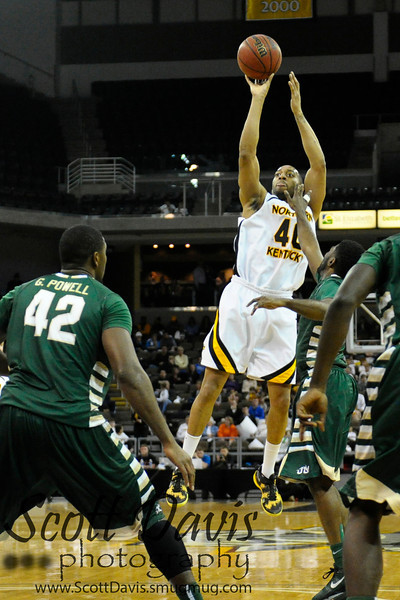 Northern Kentucky Norse forward Eshaunte Jones #40 during the college basketball game between Northern Kentucky Norse and  Jacksonville Dolphins .  Jacksonville Dolphins lead the Northern Kentucky Norse 30-29 at the half at The Bank of Kentucky Center in Highland Heights, Kentucky.