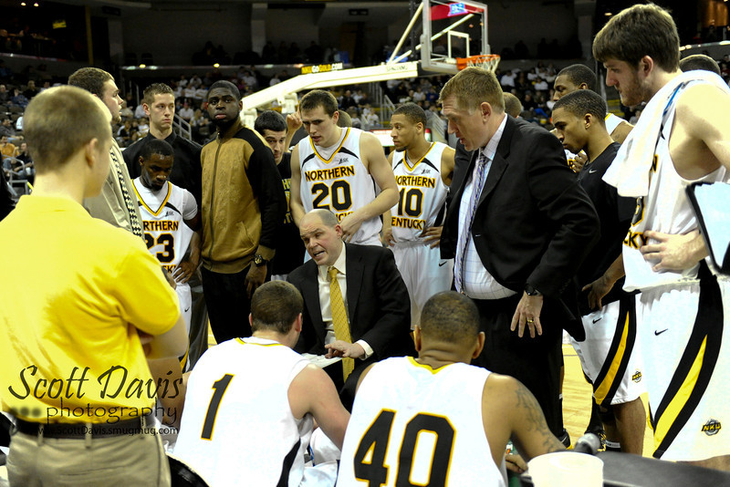 Northern Kentucky Norse head coach Dave Bezold during the college basketball game between Northern Kentucky Norse and  Jacksonville Dolphins . Northern Kentucky Norse defeated Jacksonville Dolphins 66-62 at The Bank of Kentucky Center in Highland Heights, Kentucky.