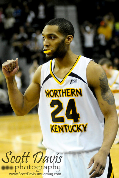 Northern Kentucky Norse guard Chad Jackson #24 celebrates after the college basketball game between Northern Kentucky Norse and  Jacksonville Dolphins . Northern Kentucky Norse defeated Jacksonville Dolphins 66-62 at The Bank of Kentucky Center in Highland Heights, Kentucky.