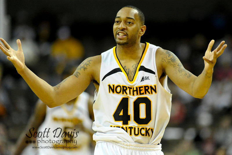 Northern Kentucky Norse forward Eshaunte Jones #40 reacts to a foul called during the college basketball game between Northern Kentucky Norse and  Jacksonville Dolphins . Northern Kentucky Norse defeated Jacksonville Dolphins 66-62 at The Bank of Kentucky Center in Highland Heights, Kentucky.