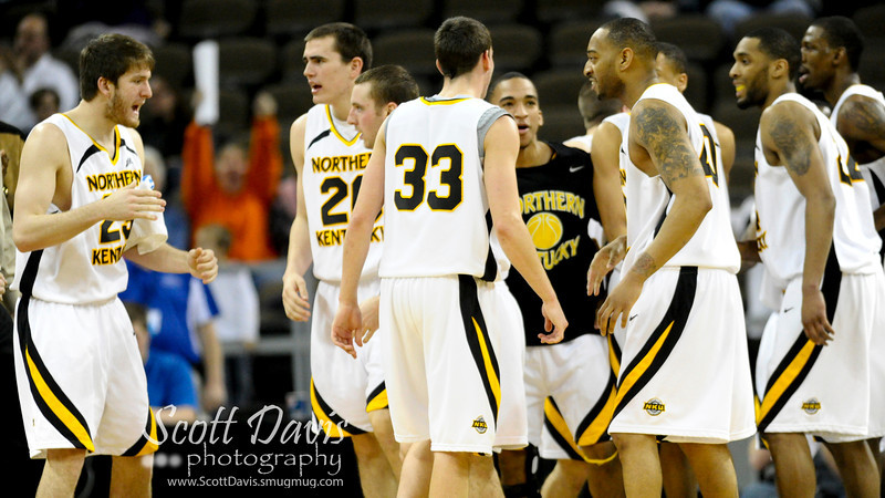 Northern Kentucky Norse bench reacts during the college basketball game between Northern Kentucky Norse and  Jacksonville Dolphins . Northern Kentucky Norse defeated Jacksonville Dolphins 66-62 at The Bank of Kentucky Center in Highland Heights, Kentucky.