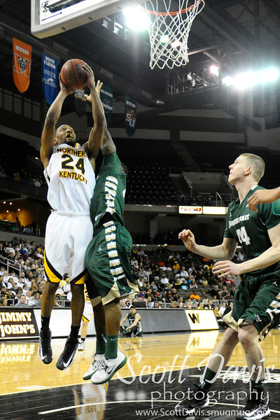 Northern Kentucky Norse guard Chad Jackson #24 during the college basketball game between Northern Kentucky Norse and  Jacksonville Dolphins .  Jacksonville Dolphins lead the Northern Kentucky Norse 30-29 at the half at The Bank of Kentucky Center in Highland Heights, Kentucky.