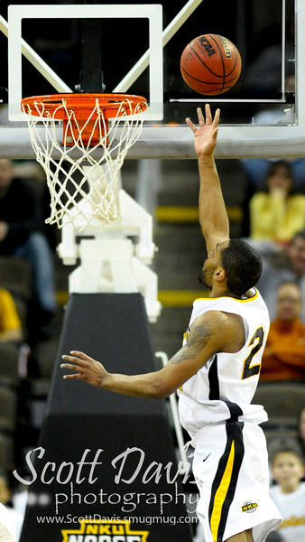 Northern Kentucky Norse guard Todd Johnson #23 with a lay up after a steal  during the college basketball game between Northern Kentucky Norse and  Jacksonville Dolphins . Northern Kentucky Norse defeated Jacksonville Dolphins 66-62 at The Bank of Kentucky Center in Highland Heights, Kentucky.