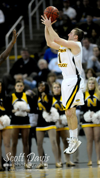 Northern Kentucky Norse guard Ethan Faulkner #1 with a three with 40 seconds during the college basketball game between Northern Kentucky Norse and  Jacksonville Dolphins . Northern Kentucky Norse defeated Jacksonville Dolphins 66-62 at The Bank of Kentucky Center in Highland Heights, Kentucky.