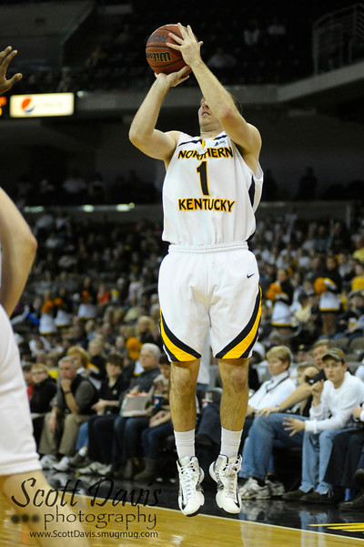 Northern Kentucky Norse guard Ethan Faulkner #1 during the college basketball game between Northern Kentucky Norse and  Jacksonville Dolphins .  Jacksonville Dolphins lead the Northern Kentucky Norse 30-29 at the half at The Bank of Kentucky Center in Highland Heights, Kentucky.
