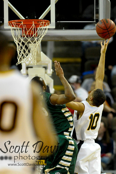 Northern Kentucky Norse guard Tyler White #10 drives to the basket during the college basketball game between Northern Kentucky Norse and  Jacksonville Dolphins . Northern Kentucky Norse defeated Jacksonville Dolphins 66-62 at The Bank of Kentucky Center in Highland Heights, Kentucky.