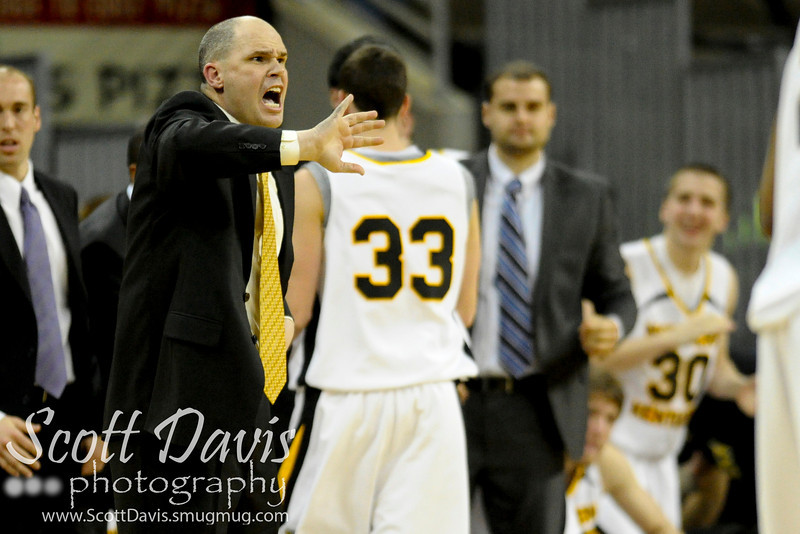 Northern Kentucky Norse head coach Dave Bezold yells instructions down the stretch during the college basketball game between Northern Kentucky Norse and  Jacksonville Dolphins . Northern Kentucky Norse defeated Jacksonville Dolphins 66-62 at The Bank of Kentucky Center in Highland Heights, Kentucky.
