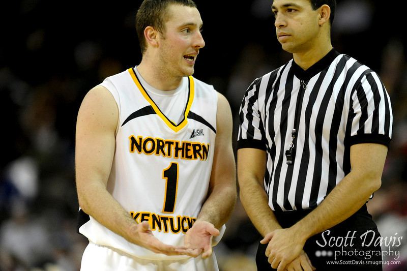 Northern Kentucky Norse guard Ethan Faulkner #1 tries to explain a foul during the college basketball game between Northern Kentucky Norse and  Jacksonville Dolphins . Northern Kentucky Norse defeated Jacksonville Dolphins 66-62 at The Bank of Kentucky Center in Highland Heights, Kentucky.