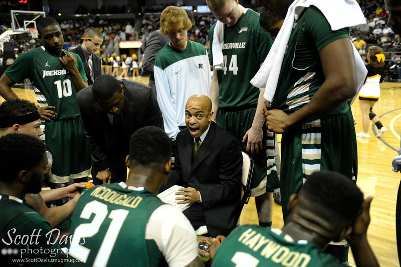 Jacksonville Dolphins head coach Cliff Warren during the college basketball game between Northern Kentucky Norse and  Jacksonville Dolphins . Northern Kentucky Norse defeated Jacksonville Dolphins 66-62 at The Bank of Kentucky Center in Highland Heights, Kentucky.