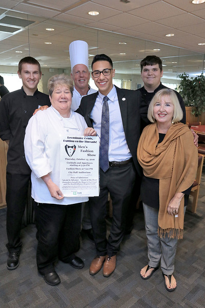 On October 13, 2016 at Leominster City Hall will be this years Men's Fashion Show starting at 5:30 p.m. The food for the event is being made by the culinary students from CTEi at Leominster High School. Posing for a picture to promote the event is from left LHS junior Dylan Boissoneau. 16, restaurant management instructor Miriam Sayer, Chef instructor David Sweeney, 2013 graduate, all dressed up, Johnathan Agosto, 21, Justin Robbins who put together the event for his senior project, and Colleen Faris mayoral aid and committee member for the the fashion show. SENTINEL & ENTERPRISE/JOHN LOVE