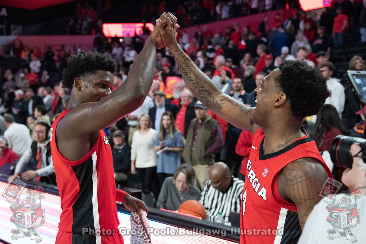 UGA men's basketball freshman Anthony Edwards (5) and senior Tyree Crump (4) celebrate in the second half of the Georgia vs. Auburn  game | February 19, 2020