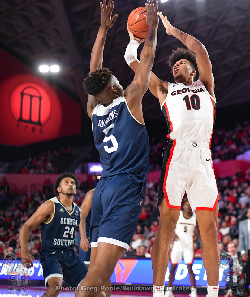 Toumani Camara (10) shot a perfect 8-for-8, scoring 16 points from the floor with 14 of those coming in the second half in the Hoop Dawgs 73-64 win over Georgia Southern on Monday night.