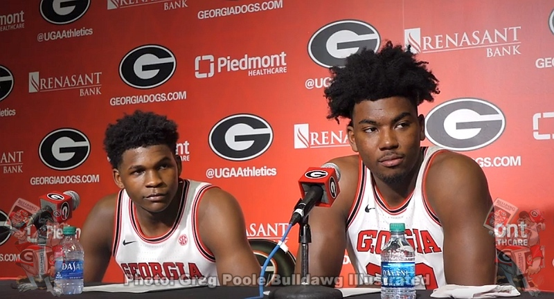 Anthony Edwards and Rayshaun Hammonds during postgame interviews after Georgia's win over Georgia Tech on Nov. 20, 2019.