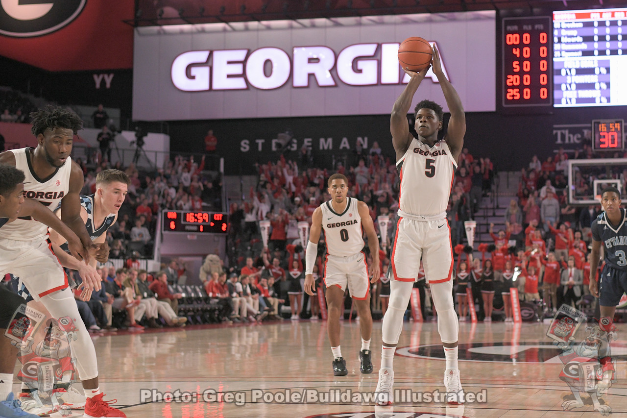 Anthony Edwards (5) takes his shot from the foul line as Donnell Gresham, Jr. (0) looks on during Georgia's Tuesday night game with The Citadel, November 12, 2019