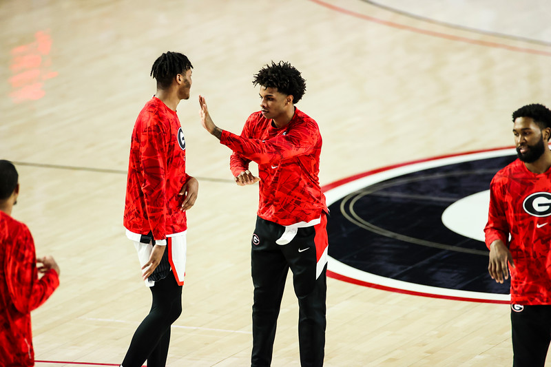 Georgia basketball player Justin Kier (5) during a game against Vanderbilt at Stegeman Coliseum in Athens, Ga., on Saturday, Feb. 6, 2021. (Photo by Tony Walsh)