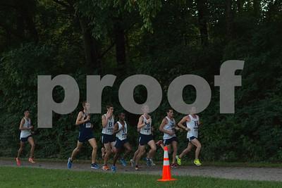 Kyle Harris leads, Followed by Lance Smith, Daniel Mushrush, Matt Walker, Ebenezer Agaro and Sam Berendson. Rhett Butler just off the pack