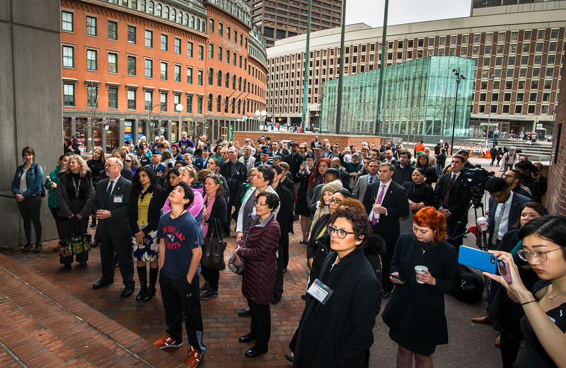 White Ribbon Day 2017 by Jane Doe, The Great Hall at Faneuil Hall, Boston, MA   ©2017 Ilene Perlman