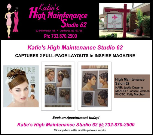 "Four photos were published in the February 2012 Issue of 'Inspire Hair Fashion'.    Two full-page layout!!<br /> <br /> The models were Sabrina and and Brittany.<br /> Make Up Artist - Larissa Petersen<br /> Hair Stylist - Jackie DeSarno<br /> Hair Salon - High Maintenance Studio 62 located In Oakhurst, NJ<br /> <br /> Click on the following link to see all of the photos that were selected.<br /> <br /> <a href=""http://www.pattydphotography.com/Portraits-Headshots/2012-Inspire-Hair-Faishion/21733481_Xs5ndK"">http://www.pattydphotography.com/Portraits-Headshots/2012-Inspire-Hair-Faishion/21733481_Xs5ndK</a>"