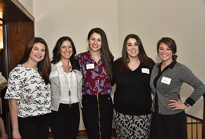Jennifer Frame, left, Lauren Valentine, Emily Dessingue, Karla Schallehn and Emma Van Vorst