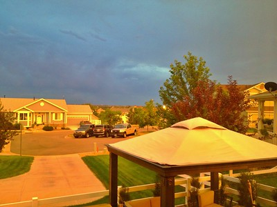Apparently there's another new fire far west of us... It made the COOLEST orange glow all evening. Pic doesn't do it justice.  Copyright Lucky Brake Ltd. 2012