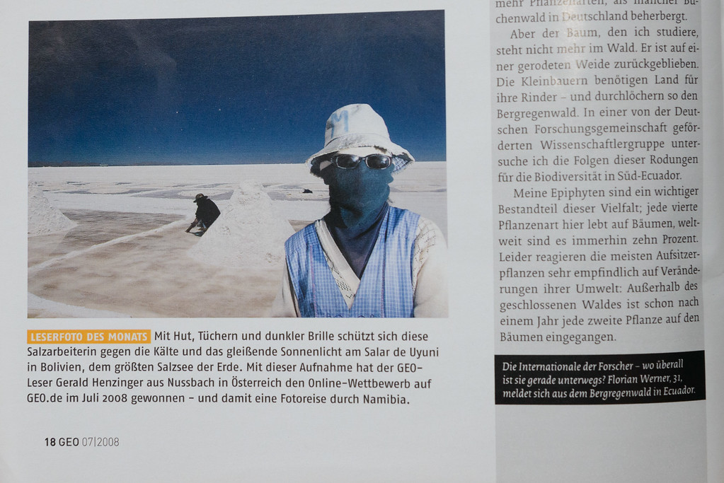 "2008-08: German Magazine ""GEO"" selects the saltworker as their Photo of the Month"
