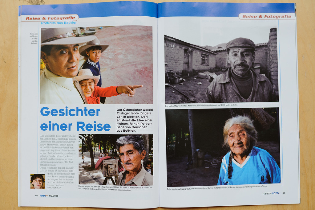 "2008-07: The Austrian Photomagazine ""FotoObjektiv"" publishes caras de una viaje."