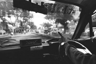 Cab ride, Jakarta, Indonesia.