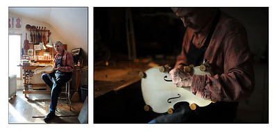Violin-maker, Bob Childs, at his workshop in Cambridge, Mass.