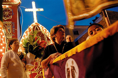 Parade honoring Greek saints Cosmos and Damien in East Cambridge, Mass., 2004.
