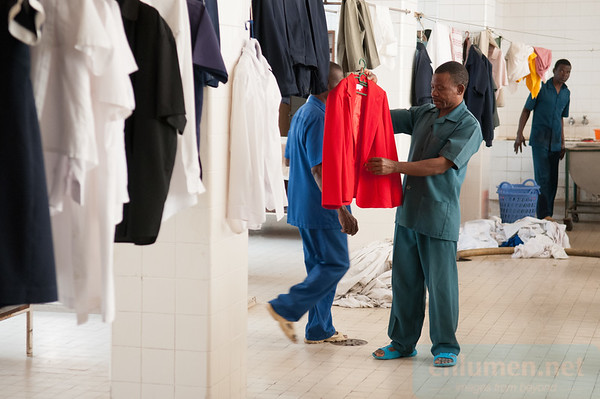 Hotel Chuabo in Quelimane, washing and cleaning department.