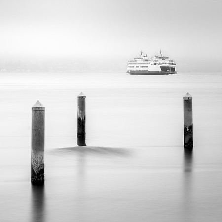 Coaster - Mukilteo Ferry with Long Exposure Waves-Black & White