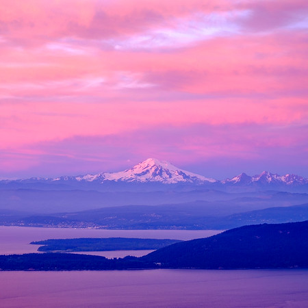 Coaster - Mt. Baker at sunset from Mt. Constitution, Orcas Island