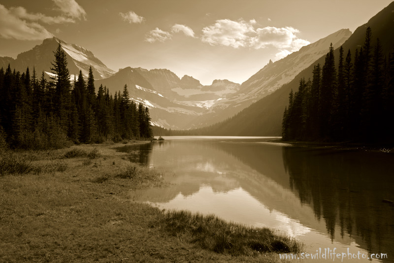 Mountain scene in black and white at Lake Josephine, Glacier National Park, Montana