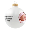 Glass Ornament<br /> <br /> This year, commemorate Christmas with a personalized photo glass ornament. Start by selecting a beautiful white, gold, silver or red ornament. Then add a family photo or festive artwork. You can choose from a variety of traditional holiday sentiments.<br /> <br /> $16.95.