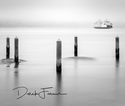 Mouse Pad - Mukilteo Ferry with Long Exposure Waves-Black & White