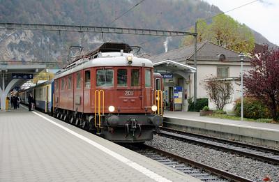 BLS, 205 at Interlaken West on 5th November 2005