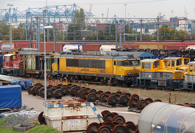 Shunter, 308 & 1603 at Waalhaven Yard on 24th October 2015