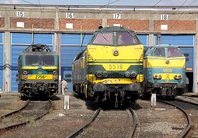 2756, 5518 & 5519 at Kinkempois Depot on 5th September 2009