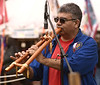 BOB RAINES--DIGITAL FIRST MEDIA // David Rose plays a Native American flute that also has a drone flute at the PowWow on Manatawny Creek, Pottstown May 7, 2016.