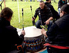 BOB RAINES--DIGITAL FIRST MEDIA // Drummers beat a calling song for dancers to come together for the Grand Entrance at the Pow Wow on Manatawny Creek, Pottstown May 7, 2016.