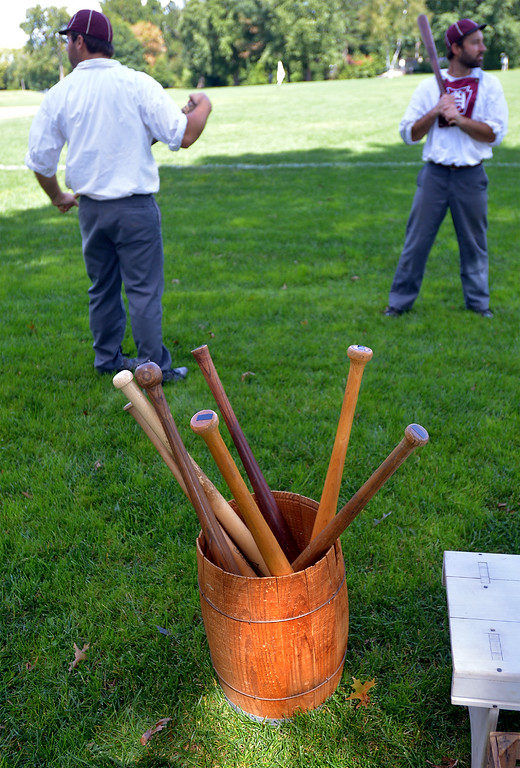 ". Harrisburg Baseball Club brought a barrel of old fashioned bats to the ""Old Tyme Baseball Game\"" Sept. 9, 2017. / Bob Raines--Digital First Media"