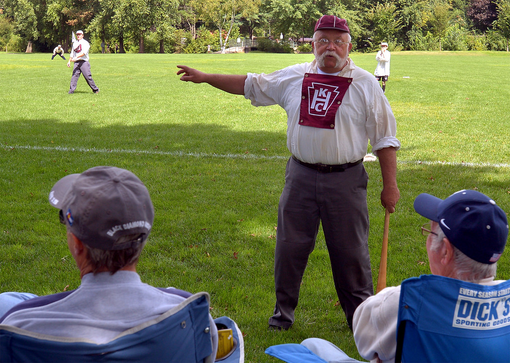 . Rich Heinrich explains the rule of the 1860s game of baseball Sept. 9, 2017. / Bob Raines--Digital First Media