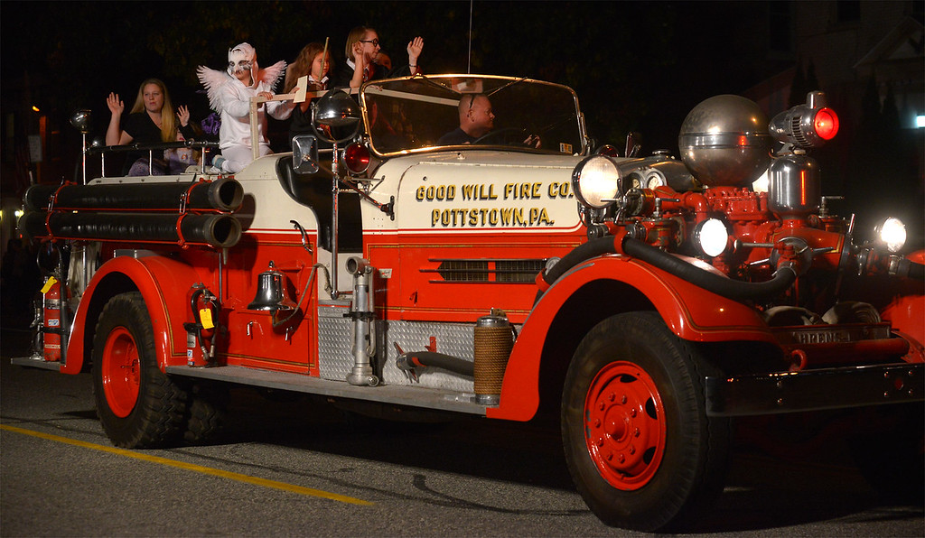 . The Good Will Fire Co. brought out their antique fire engine for the Pottstown Halloween Parade Oct. 24, 2017. (Bob Raines--Digital First Media)
