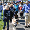 John Strickler - Digital First Media<br /> Dr. Charles Koenig at right this year's Bark for Life grand marshall and Sheila Batzel left lead the pet walk around Memorial Park Saturday.