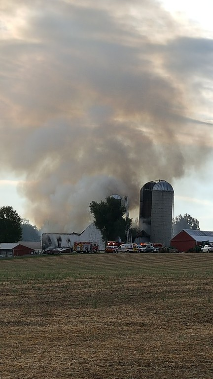 . Crews are battling a fire at Ridge Star Farm in Spring City. Smoke can be scene from miles away. Marian Dennis -- Digital First Media