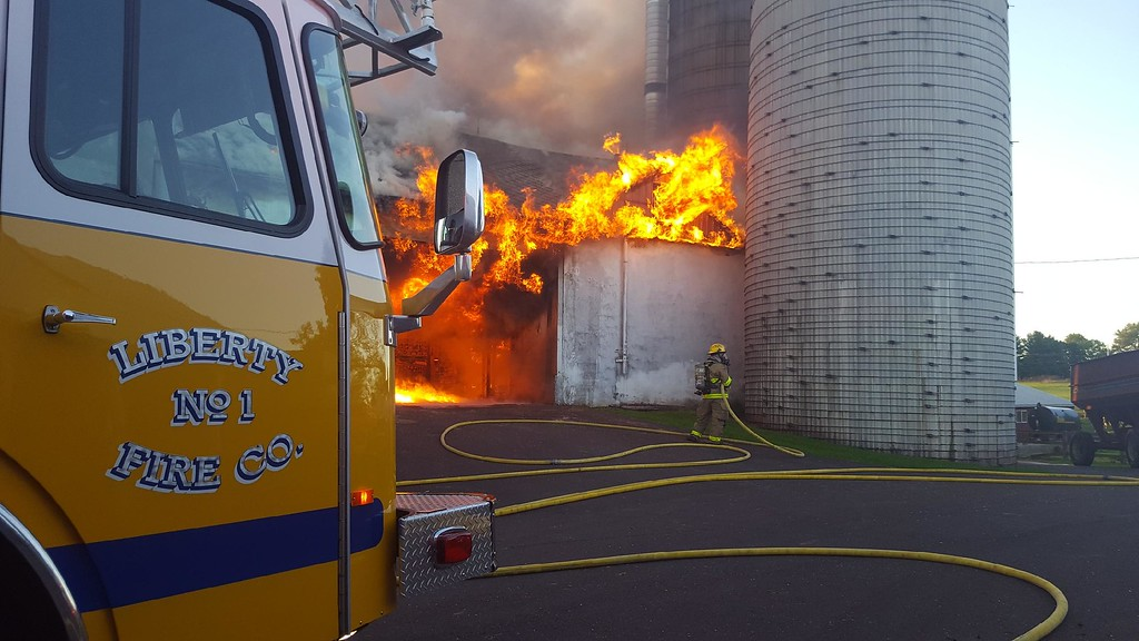 . Flames can be seen at Ridge Star Farm in Spring City. Photo courtesy of Lenny Brown