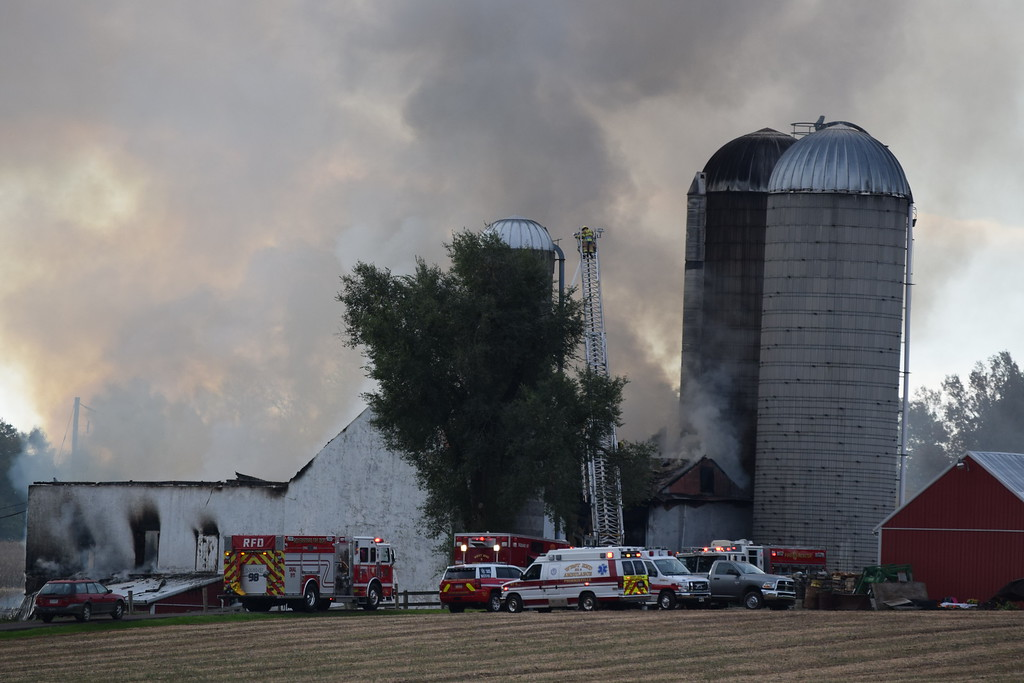 . Smoke could be seen from Seven Stars Road as a fire broke out in one of the barns at Ridge Star Farm early Wednesday.  Marian Dennis -- Digital First Media