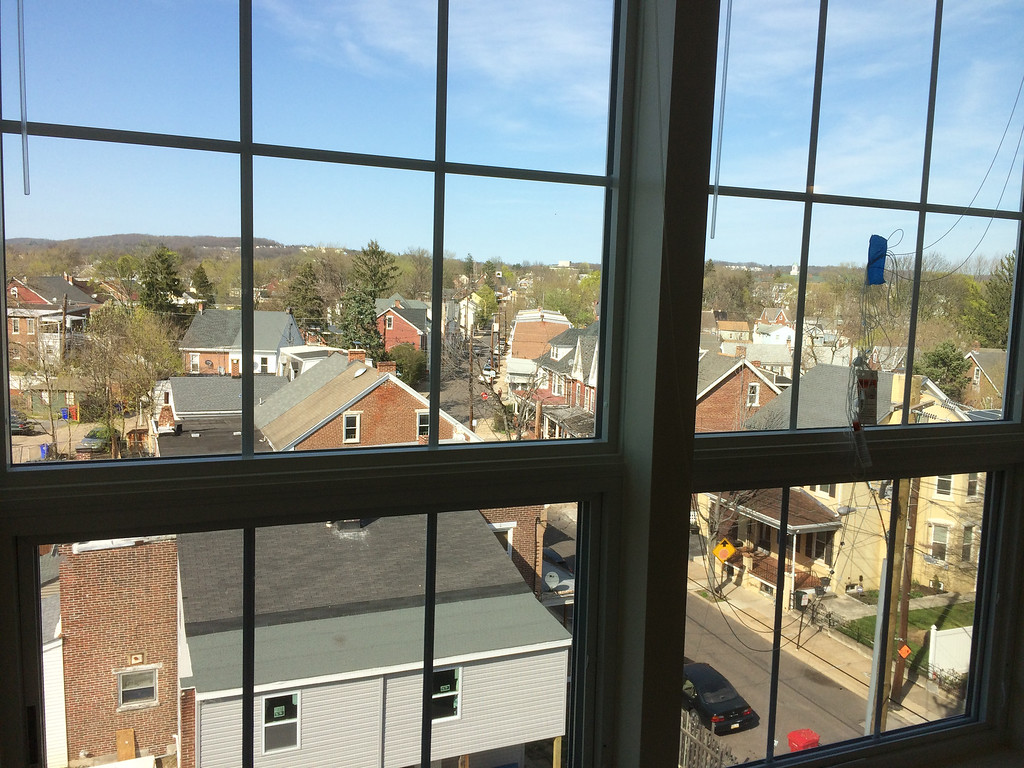 . In order to maintain a high energy efficiency rating, developers has to choose between leaving the open brick or keeping the windows. They chose the windows, which are also high-efficiency and offer views of the greater Pottstown area, at least on the fourth floor.